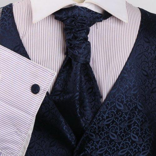 VS2015 Blue Patterned Wedding Gift Vests Cufflink Hanky Ascot Tie By Y&G
