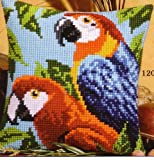 Macaws chunky cross stitch cushion front kit Vervaco (984)