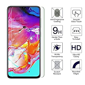 [2-Pack] Tonvizern Compatible for Samsung Galaxy A70 Tempered Glass Screen Protector,0.26mm 9H Hardness Glass Screen Protector