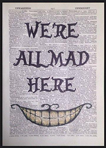 """Parksmoonprints - Stampa del Cappellaio Matto di Alice nel Paese delle Meraviglie, """"We're All Mad Here"""", ricavata su pagina di dizionario (lingua inglese)"""