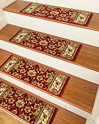 NaturalAreaRugs Essen Carpet Stair Treads with Peel and Stick Strips Rug (Set of 13), 9-inch x 29-inch