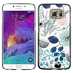 Omega Covers - Snap on Hard Back Case Cover Shell FOR Samsung Galaxy S6 - Spring Teal Blue Floral Pattern Flowers