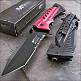Mtech Ballistic Red Glass Breaker Belt Cutter Rescue Knife NEW