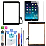 OmniRepairs Glass Touch Screen Digitizer Assembly OEM Replacement with Home Button Compatible for iPad Air 1st Generation with Adhesive Tape, Screen Protector and Repair Toolkit (Black) (Color: iPad Air Black)