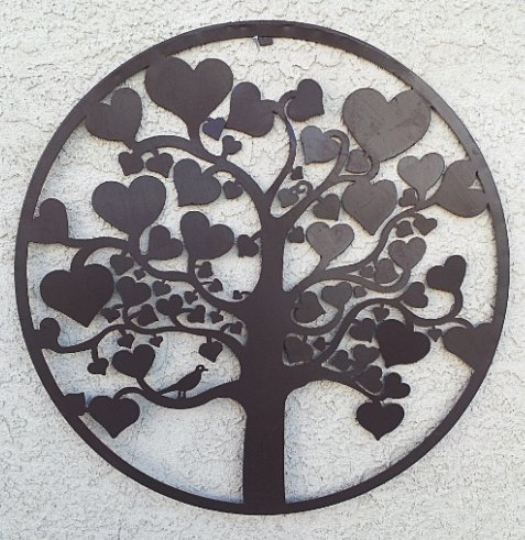 Love Love Love Tree of Life Metal Wall Hanging Garden Art 24 Inches