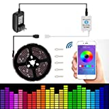 Led strip lights 16.4ft/5mNon-Waterproof LED Lights Kit5050 RGB Rope Lights With Bluetooth Smartphone APP Controller & 12V 3A Power Supply for ios and Android System (Color: Multicolor, Tamaño: APP Controlled)