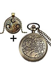 YISUYA Vintage Bronze Doctor Who Retro Dr. Who Quartz Pocket Watch with Necklace & Gift Box