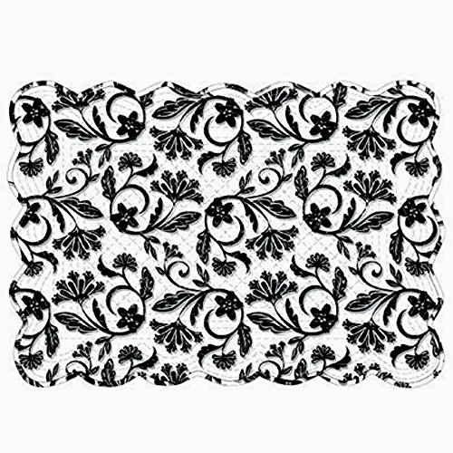 Black Cameo Reversible Quilted Boutis Placemats, Set of 4 by Kay Dee Designs