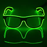 Fronnor El Wire Glow Sun Glasses Led DJ Bright Light Safety Light Up Multicolor Frame Voice control led flashing glasses (Green) (Color: Fluorescent green, Tamaño: Medium)