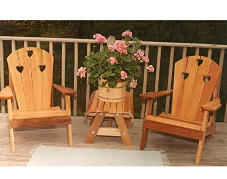 Creekvine Designs Country Hearts Cedar Adirondack Chairs and Side Table 3 pc. Set