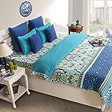 House This 100% Cotton 1 Double Duvet Cover Delft Blue