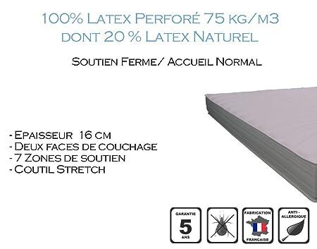 Armorel MAPR16070/200 Physiologic160 Relax Matelas Latex Perforé  Blanc 200 x 70 cm