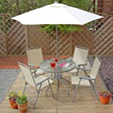 Alfresia Round Patio Set with Parasol in Cream