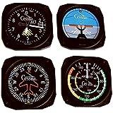 Trintec Cessna Classic Aircraft Instrument Coasters Model CES-9075 (Color: Black)