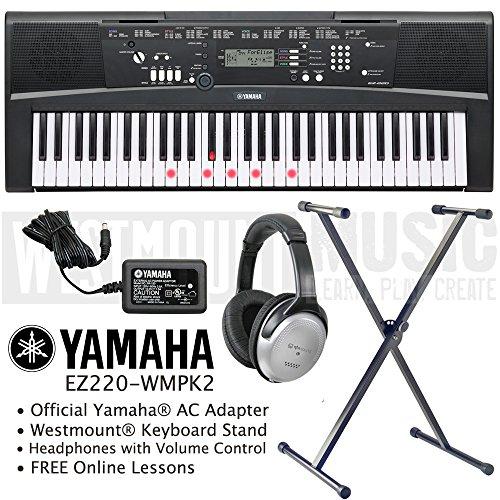 yamaha-ez-220-key-lighting-keyboard-including-ac-adapter-westmountr-stand-headphones-and-free-online