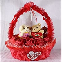 Red Basket Of Imported Roses With Love Couple Teddy Bears