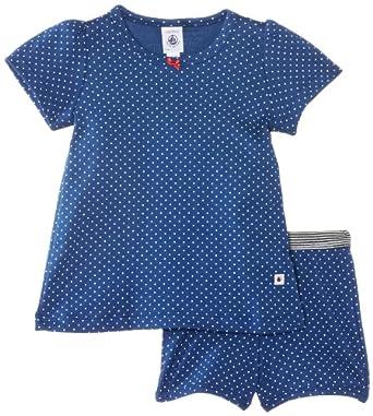 Petit Bateau - Ensemble de pyjama - À pois - Fille - Multicolore (Major/Écume) - FR: 24 mois (Taille fabricant: 24 mois)