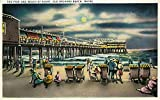 Old Orchard Beach, Maine - View of the Pier and Beach at Night (9x12 Art Print, Wall Decor Travel Poster)