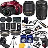 Nikon D5300 24.2 MP Red CMOS Digital SLR Camera Bundle with 18-55mm f/3.5-5.6G ED VR II AF-S DX NIKKOR Zoom Lens + Nikon 70-300mm G Zoom Lens + Dedicated Bounce and Swivel Flash + 2pcs Extra Replacement Batteries + Wide Angle Lens + Telephoto Lens + 2pcs 32GB High Speed Class 10 Memory Cards + 25pc Accessory Bundle Kit