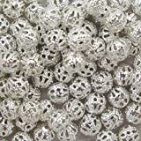 """k2-accessories 100 Silver Plated Filigree Beads 6Mm - """"Pretty Hollow Spacer Beads"""" - A6751"""
