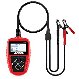 ANCEL BA101 Professional 12V 100-2000 CCA 220AH Automotive Load Battery Tester Digital Analyzer Bad Cell Test Tool for Car/Boat/Motorcycle and More (Red)