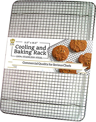 Ultra Cuisine 100% Stainless Steel Wire Cooling Rack for Baking fits Half Sheet Pans  Cool Cookies, Cakes, Breads - Oven Safe for Cooking, Roasting, Grilling - Heavy Duty Commercial Quality (Flat Top Grill Cookbook compare prices)