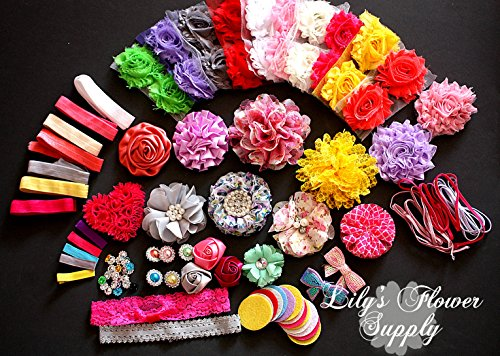 Baby Shower Headband Kit - Headband Kit - Diy Headband Kit - Make 32 Headbands And 5 Clips - Baby Shower Headband Station Kit - Diy Hair Bow Kit - Floral Collection