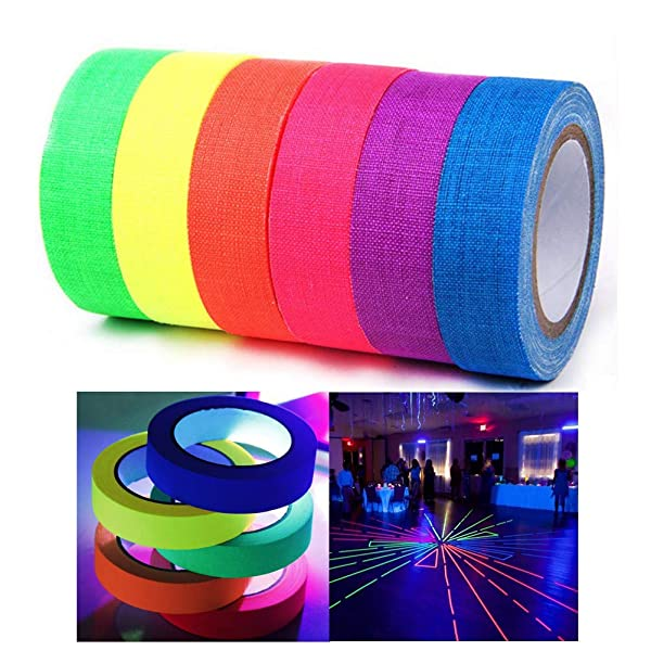 Xindejia UV Blacklight Reactive Fluorescent Cloth Tape Glow in The Dark Neon Gaffer Tape Birthday Christmas Party Supplies.Each roll is 0.6 inch x 16.