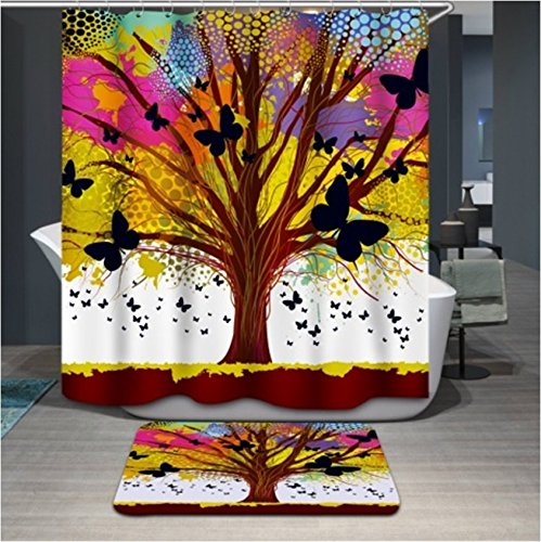Polyerster Shower Curtain, Colorful Multicolored Trees, Size Width X Height / 72 X 72 Inches / W * H 180 By 180 Cm Modern Design, Anti-bacterial, Best And Suitable For Bathroom