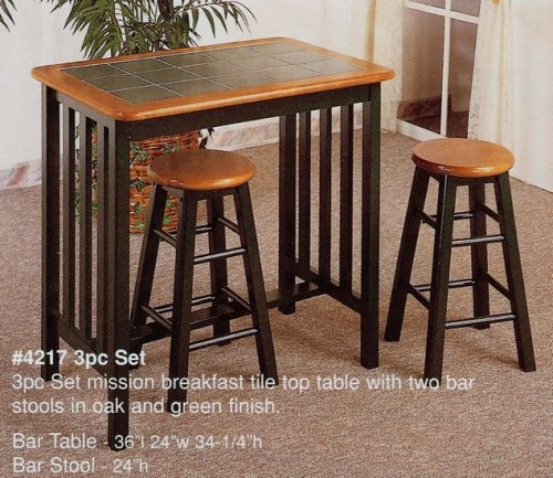 Buy Low Price Coaster 3pc Oak & Green Finish Wood Mission Breakfast Table Stools Dinette Set (VF_4217)