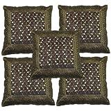 Rajrang Brown Polydupion Designer Cushion Cover Set Of 5 Pcs #Ccs01459