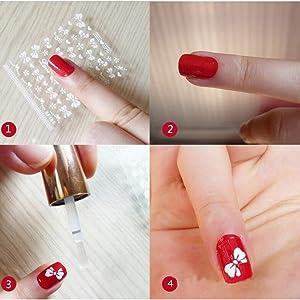 WOKOTO 30pcs White Adhesive 3d Nail Stickers Flower Nail Art Decoration Accessory With 1 Pcs Anti-Static Tweezers And 5 Pcs Wood Nail Art Stick Cuticle Pusher