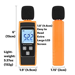 Digital Decibel Meter   Sound Level Tester   Noise dB Loudness Reader   Momenturn (Color: Yellow)