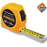Komelon 4912IM The Professional 12-Foot Inch/Metric Scale Power Tape, Yellow (5 Pack) (Color: 5 Pack (Yellow))