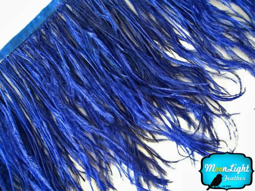 Moonlight Feather Navy Blue Ostrich Fringe Trim Feather 4 Inch Strip of Ostrich Feathers