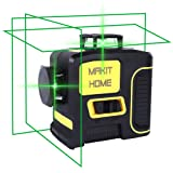 Laser Level, 3D Green Beam Self Leveling Laser Level Three-Plane Leveling and Alignment-Line Laser 3x360 Cross Line Laser Level Tool, Two 360° Vertical, and One 360° Horizontal Line (Color: Green Laser Level, Tamaño: lazer level tool)