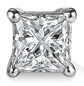 Large CZ Square Princess 925 Sterling Silver Stud Earrings For Men or Women, Choose from 10 CZ weights by U.S.A