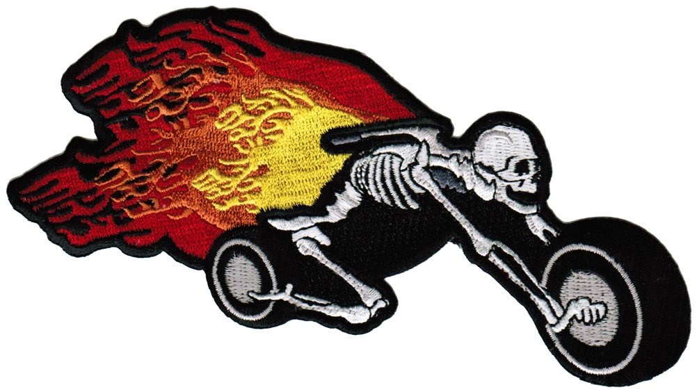 Flaming Skeleton Chopper Patch Embroidered Skull Motorcycle Flames Biker Emblem 0
