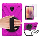 Gzerma Samsung Galaxy Tab A 8.0 Case, Kids Proof with Hand Strap, Kickstand, Screen Protector, 3in1 Heavy Duty Defender Rugged Bumper with Silicone Cover for Samsung T380 8 Inch 2017 Tablet, Girl Pink