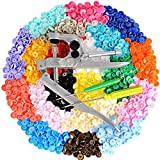 LEMESO 300 Set T5 Plastic Buttons Fasteners, Multicolored, Included Snap Pliers