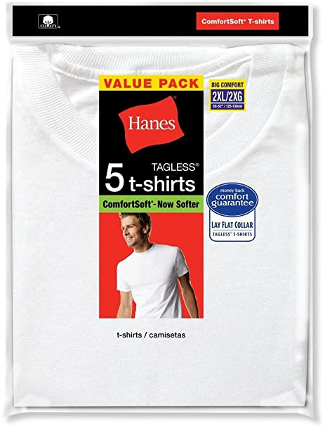 Hanes Men's 5Pack Crew Neck Tagless White Undershirts Crewneck T-Shirts, L
