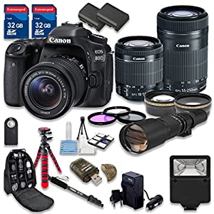 Canon EOS 80D DSLR Camera Bundle with Canon EF-S 18-55mm f/3.5-5.6 IS STM Lens + Canon EF-S 55-250mm f/4-5.6 IS STM Lens + 500mm f/8 Preset Lens - International Model
