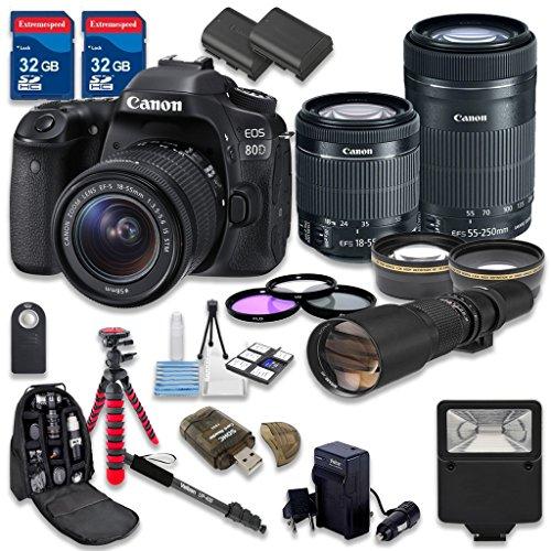 Canon EOS 80D DSLR Camera Bundle with Canon EF-S 18-55mm f/3.5-5.6 IS STM Lens + Canon EF-S 55-250mm f/4-5.6 IS STM Lens + 500mm f/8 Preset Lens - International Model (Top 10 Digital Cameras compare prices)