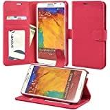 Note 3 Case, Abacus24-7 Galaxy Note 3 Wallet Case [Book Fold] Leather Note 3 Cover [Flip Cover] with Foldable Stand, Pockets for ID, Credit Cards - Pink Flip Case for Samsung Note 3