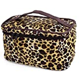 Brown Beige Leopard Printed Cosmetic Bag Make Up Pouch Bag for Women by Rosallini (English Manual)