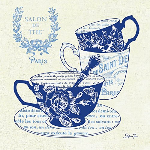 Blue Cups IV by Stefania Ferri Art Print, 12 x 12 inches