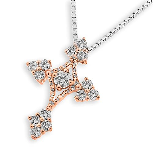 18K Rose Gold Cross Shape with Miligrain & Diamond Accent Pendant W/Silver Chain