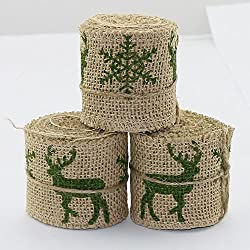 "Set of 3 Natural Jute Burlap Rolls Ribbon Print reindeer and Snowflake 2.3"" Wide 2 Yards Long per Roll Christmas Decoration GreenColor"