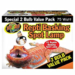 Zoo Med Reptile Basking Spot Lamp 75 Watts 2 Bulb Value Pack