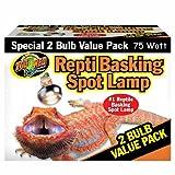 Zoo Med Reptile Basking Spot Lamp 75 Watts 2 Bulb Value Pack ~ Zoo Med